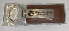 MERCEDES BENZ Of Music City Metal & LEATHER KEYCHAIN Ring Fob New Roadside Asst