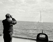 PRESIDENT JOHN F. KENNEDY OBSERVES POLARIS MISSILE FIRING - 8X10 PHOTO (BB-596)