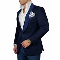 2018 Dark Navy Jacquard Paisley tuxedos Men's Suit British style custom slim fit