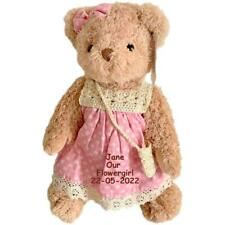 More details for personalised jointed teddy bear flower girl, bridesmaid pink wedding favour gift