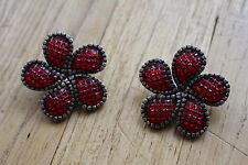 bijoux / boucle d oreille clips fleurs signé babylone  pierre en verre  ref 159