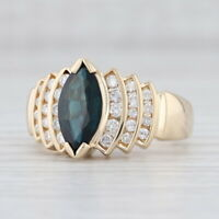 2.22ctw Blue Sapphire Diamond Ring 14k Yellow Gold Size 8.75 Marquise Solitaire