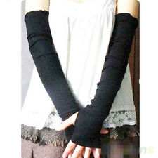 Women Girl warm Arm Warmer cotton Long Fingerless Gloves Gift black