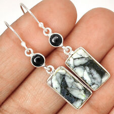 Pinolith & Black Onyx 925 Sterling Silver Earrings Jewelry EE27300
