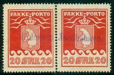Greenland #Q6 (P9) 20ore Pakke Porto, used pair w/Kolonien Jacobshavn town cxl