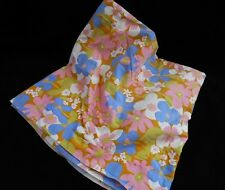 "2+ yd Vtg 60s 70s Retro Mod Daisy Flower Power Fabric 43"" W Blue Pink White"