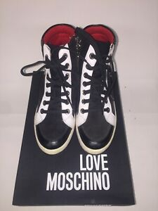 Love Moschino high top sneakers black red size EU 37 ,US 7