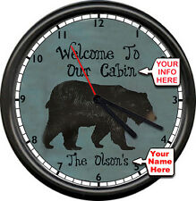 Personalized Bear Lodge Cabin RV Trailer Wildlife Camping Decor Sign Wall Clock