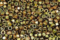 (350) Nyloc Grade 8/C Hex Locking Nuts 5/16-24 Yellow Zinc Plated Nylock