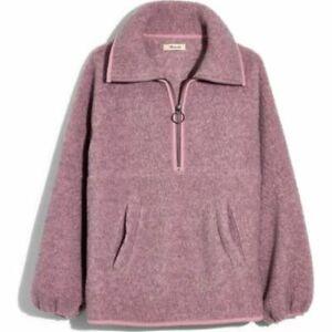 Madewell Polartec Fleece Popover Jacket Heathered Cherry Blossom SMALL NWT