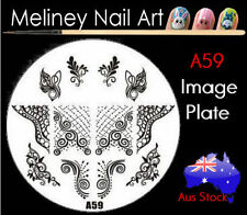 A59 Stamping Nail Art Image Plate Design Round XL Stencil metal
