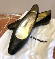 MANOLO BLAHNIK Giungla THE CLASSIC Black LEATHER QUILTED BALLET FLAT ELEGANT