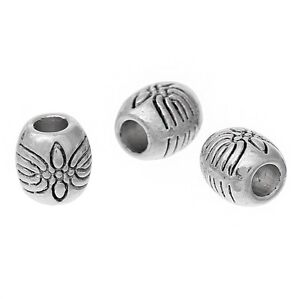 🎀 3 FOR 2 🎀 100 Silver Barrel 5mm Spacer Beads For Jewellery Making