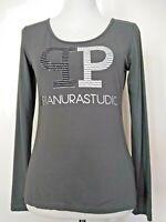 Pianurastudio Womens Gray Long Sleeve Graphic T-Shirt Top Size 44 US 8