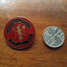 More details for scarce sacked kent miners - 48 - true & bold - brass & enamel 2.6cm badge