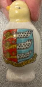 RARE CRESTED CHINA - CHICK SALT CRUET SHAKER - RYE - SUSSEX C.1919