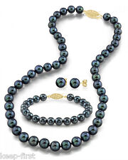 7-8MM Black Akoya Cultured Fresh water Pearl Necklace Bracelet Earring Set AAA