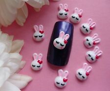 "10 pcs x ""Easter White Bunny Rabbit Head with Pink Bow"" 3D Nail Art Kawaii Craft"