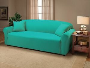 """JERSEY SOFA """"STRETCH"""" COUCH SLIP COVER---AQUA---A GREAT BUY-COMES IN 12 COLORS"""