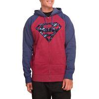 Superman Mens Long Sleeve Red Navy Full Zip Hoodie Jacket New NWOT