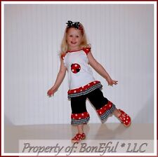 BonEful RTS NEW Boutique Girl 4 5 LADY*BUG Ruffle Capri Pants Top Outfit LOT Set