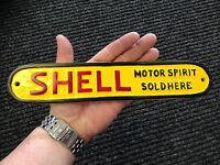Shell Motor Spirit Sold Here Cast metal sign large Garage Sign