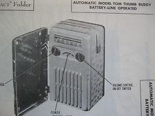 "AUTOMATIC ""TOM THUMB BUDDY"" PORTABLE RADIO PHOTOFACT"