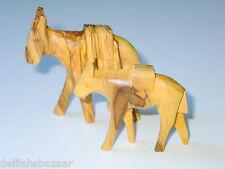 Carved Donkey Set (2) Olive Wood Olivewood Bethlehem Holy Land Whittle Job