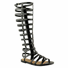 Ladies Womens Cut out Gladiator Sandals Flat Knee BOOTS Strappy Size Black Faux Leather Mid Calf Roman UK 5/ EU 38 / US 7