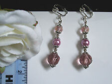 "Pink faceted crystal/glass pearl clip-on earrings 2"" drop"