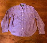 Lauren Ralph Lauren Women's Large 100% Cotton Purple Long Sleeve Striped Shirt