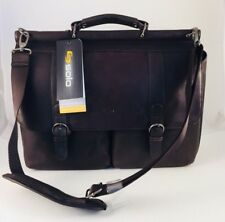 """NWT Solo Colombian Padded Leather Laptop Briefcase 16"""" Brown Durable D535-3"""