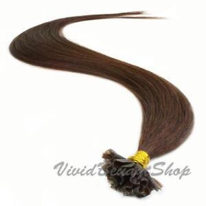 200 Pre Bond U Glue Tip Straight Remy Human Hair Extensions Medium Dark Brown #3