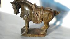 ANTIQUE CHINESE SOAPSTONE CARVED HORSE STATUE WITH HIGH RELIEF DETAILED ORNAMENT