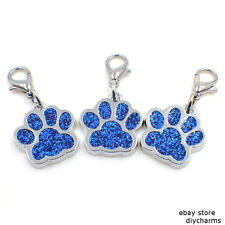 5pcs Blue Glint Dog Paw Print Clip Dangle Hang Charm Lobster Clasp For Keyring