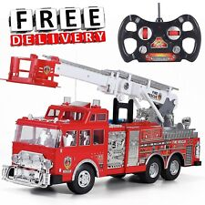 "Fire Truck Remote Control 20"" Kid Toy Large Big Jumbo Boy Fun Ladder RC Siren"