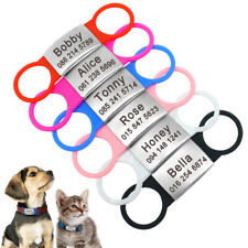 No Noise Slide on Dog Tag Stainless Steel Personalized Pet Cat Dog Collar Tags