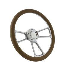 Polished Billet & Tan Vinyl Steering Wheel & Adapter Kit 1970 - 1977 Ford Cars