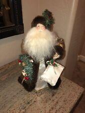"Christmas Tree Topper Old World Santa In Fur Coat 16"" Holding Present & Wreath"