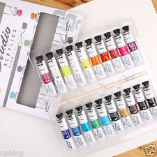 Pebeo Studio Acrylic Paint Craft Set 20 x 20ml Tubes Assorted Colours & Brush