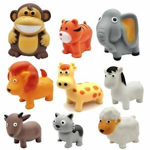 Matt Finish Colors chuchu Sound Bath Toys for Baby Zoo Farm Animals Set of 9
