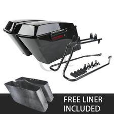 Vivid Black Hard Saddle Bags Latch Keys + Softail Conversion Brackets For Harley