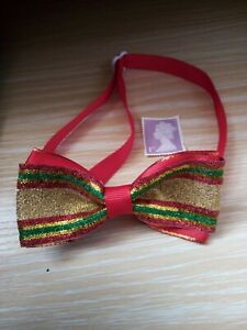 NEW DOG/CAT BOW TIE, ADJUSTABLE COLLAR, CHRISTMAS RED AND GOLD GLITTER BOW.