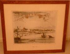 "RARE VTG Framed Original Engraving New York New Amsterdam NYC 1642 Cityscape 30"""