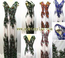 Fashion Peacock Print New Women Chic Maxi Dress Summer Relax Beach Long Sundress