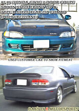 Spn-Style Front + TR-Style Rear Lip (Urethane) Fits 92-95 Civic 2dr