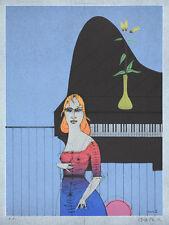 PAUL WUNDERLICH - Die Pianistin (2000) Original Farblithografie Grafik Bilder