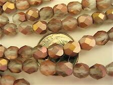 100 Apollo Gold Matte Czech Fire Polished Beads 6mm