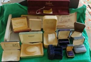 Lot Vintage Jewelry Display Boxes Velvet Leather Watch Ring Empty Boxes