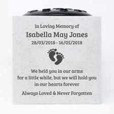 Personalised Baby Footprints Customised Memorial Graveside Flower Rose Bowl Vase